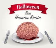 万圣夜菜单-人脑 免版税库存图片