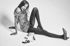万圣夜血淋淋的时尚女孩 图库摄影
