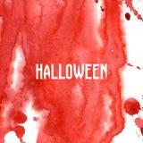 万圣夜血淋淋的背景 水彩红色飞溅 印刷品的手拉的例证 免版税库存图片
