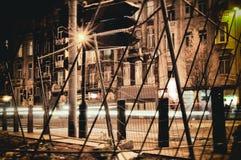 万圣夜街道和bokeh背景都市夜 免版税库存照片