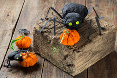 万圣夜装饰:黑蜘蛛和南瓜由纸制成 免版税库存照片