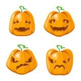 万圣夜起重器o灯笼南瓜装饰可怕面孔微笑emoji象被设置的被隔绝的动画片设计传染媒介 库存例证