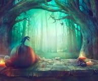 万圣夜题材用南瓜和黑暗的森林鬼的万圣夜 免版税库存照片