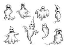 万圣夜飞行幽灵和鬼魂 免版税库存图片