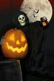 万圣夜食尸鬼和杰克O灯笼Selfie 免版税库存图片