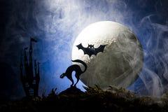 万圣夜,一个帚柄的巫婆在月亮的背景中 免版税图库摄影