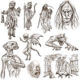 万圣夜,妖怪,魔术-在白色的手拉的组装 免版税库存图片
