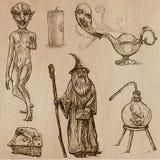 万圣夜,妖怪,魔术-导航汇集 免版税库存照片
