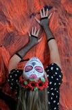 万圣夜组成墨西哥面具 库存照片