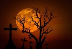 万圣夜黑暗的难看的东西五谷概念背景与可怕死的树和鬼的剪影十字架和充分的mo 免版税库存照片