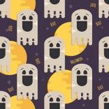 万圣夜滑稽的鬼魂无缝的样式 免版税库存图片