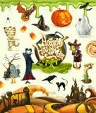 万圣夜3d传染媒介例证 南瓜,鬼魂,蜘蛛,巫婆,吸血鬼,蛇神,坟墓,糖味玉米 库存照片