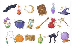 万圣节不可思议的标志集合,巫术师帽子,不可思议的书,魔药,笤帚,水晶球,胸口,滴漏,南瓜,棒传染媒介 皇族释放例证
