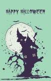 万圣节例证月亮晚上 witchs房子剪影树的 免版税库存图片