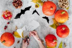 万圣节准备 手在纸外面的裁减棒 图和南瓜在灰色背景顶视图 库存图片