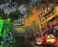 万圣节南瓜老城镇绘画 免版税库存照片