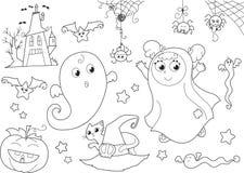 万圣节小孩的彩色组 免版税库存照片