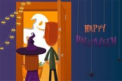 万圣节当事人 孩子收集糖果 死者的夜 款待窍门 10月31日 免版税库存图片