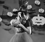 万圣节当事人 戴黑帽会议的小巫婆 万圣夜党概念 免版税库存图片
