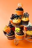 万圣节杯形蛋糕 库存照片