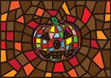 万圣节项目 传染媒介装饰南瓜彩色玻璃样式 向量例证