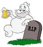 万圣节鬼魂饮用的啤酒 免版税库存图片