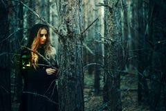 万圣节 一件黑礼服的美丽的女孩在森林里 库存照片