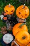 万圣节 杰克o灯笼 与微笑的可怕南瓜在蜡烛和蜘蛛附近在绿色森林里,室外 装饰 库存图片
