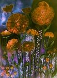 万寿菊在不可思议的夜 库存图片