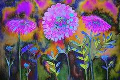 万寿菊荧光的印象在五颜六色的背景的 库存照片