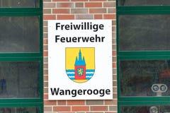 万格罗格,德国 2017年7月04th日:地方志愿消防部门的商标的看法 免版税库存图片