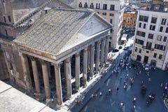 万神殿正方形从上面,罗马,意大利 免版税库存照片