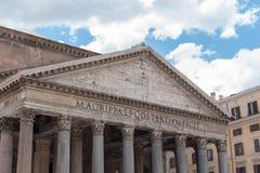 万神殿的美丽的景色在罗马在意大利 免版税库存照片