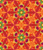 万花筒几何桔子和绿色无缝的样式 免版税库存图片