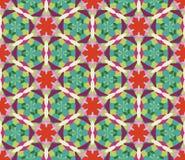 万花筒几何红色和绿色无缝的样式 向量例证