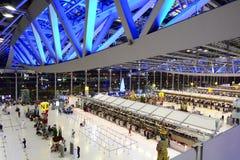 素万那普机场离开大厅,国际终端 曼谷 泰国 库存照片
