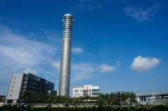 素万那普航空交通管制塔,曼谷国际Ai 免版税图库摄影