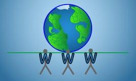 万维网在所有地球的互联网标志 库存图片