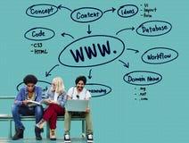 万维网连接数据通信的互联网概念 库存图片