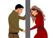 丈夫和妻子之间的复杂关系 他们站立门外 皇族释放例证