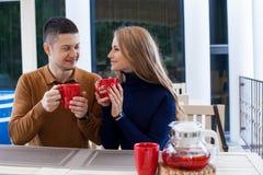 丈夫和妻子在度假喝热巧克力咖啡茶 免版税库存图片