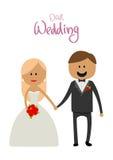 丈夫和妻子婚礼幸福的握手 免版税库存图片