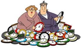 丈夫&妻子设置时钟 向量例证