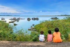 三一个湖在越南 库存照片