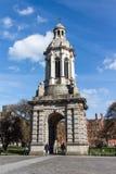 三一学院的钟楼在都伯林,爱尔兰, 2015年 库存图片