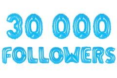 三万个追随者,蓝色颜色 免版税库存照片