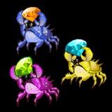 三与宝石的五颜六色的螃蟹 免版税图库摄影