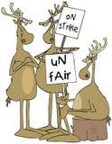 三与纠察队员标志的驯鹿 免版税库存照片