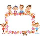 三世代家庭和花框架 免版税库存照片
