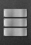 三个不锈钢金属板 免版税库存图片